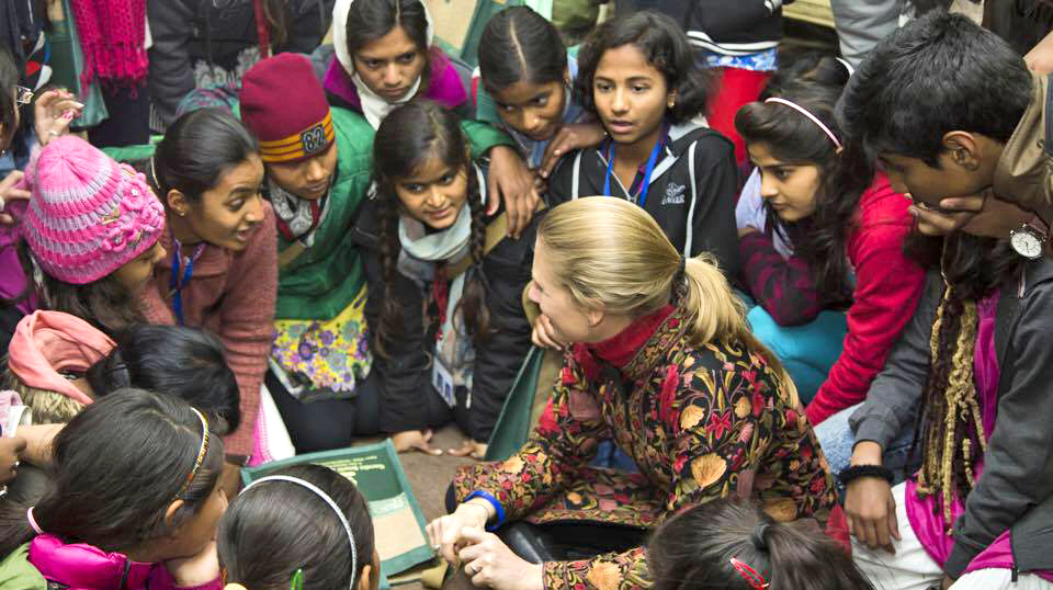 Rebecca shares the message of Women of the Mountain with students across India at an event commemorating Mahatma Gandhi in New Delhi.