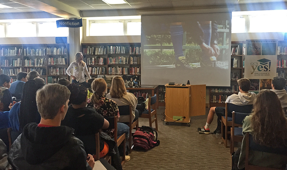 Rebecca talks with students at Grimsley High School in Greensboro, NC