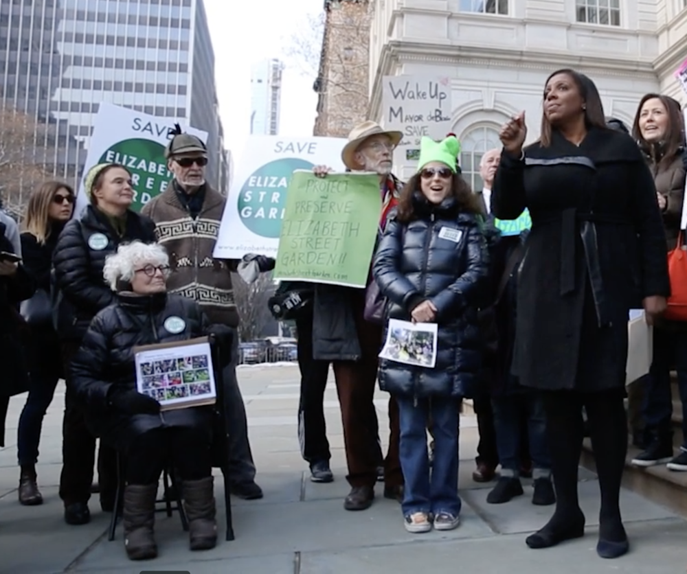 Former Public Advocate Tish James supporting Elizabeth Street Garden (CLICK FOR FULL VIDEO)