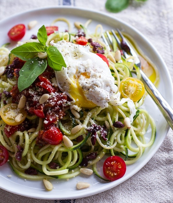 Egg on courgette pasta (Source:  halfbakedharvest )