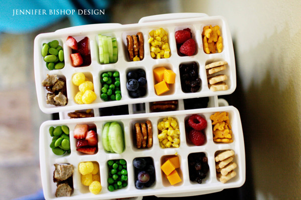 Healthy snacks in ice cube trays (Source:  honeyandlime )