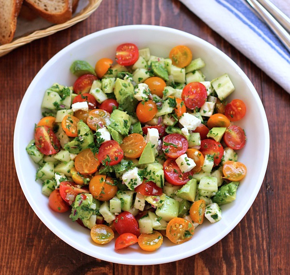 Tomato, cucumber and avocado salad (Source: greenvalleykitchen)
