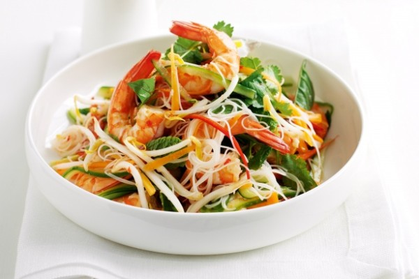 Vietnamese inspired prawn and rice noodle salad (Source: taste)