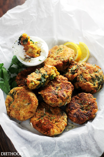 spinach lentils fritters (Source: diethood)