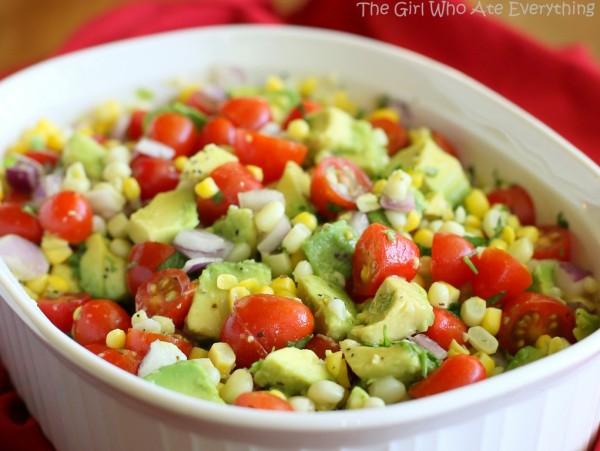 Corn, avocado, tomato salad (Source: the-girl-who-ate-everything )