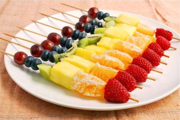 Rainbow fruit skewers (Source:  babble )