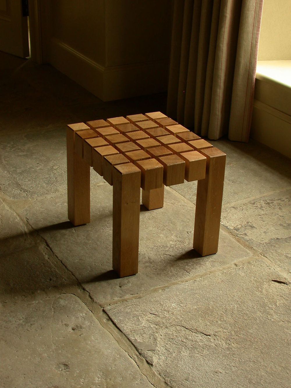 Oak block stool