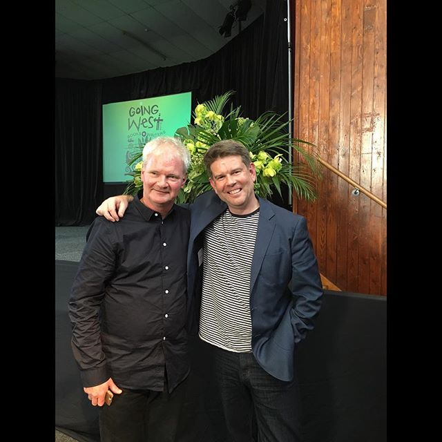 Incredible story telling and discussion between @johnjcampbell and Roger Shepherd about the life and history of @flyingnun 〰🌿〰#goingwestfest #writing #reading #storytelling #titirangi  #westauckland #auckland #music #nzmusic #laughter #records #recordlabel #dunedin #flyingnunrecords #love #writersfestival