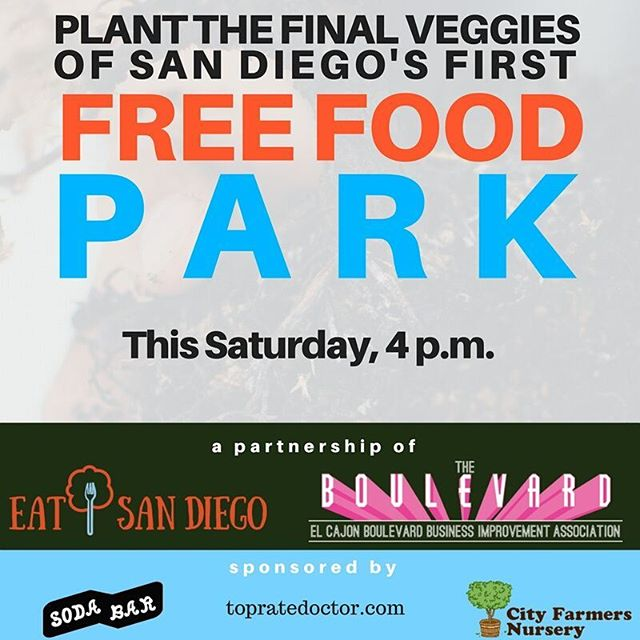 Plant free food. Make history. Join us, Chula Vista City Council Candidate  @markbartlett and @elcajonboulevard at POP UP 15 to plant the first veggies. Event link in bio.  Special thanks to @sodabarsd @cityfarmersnsy and topratedoctor.com . . . . . #cityheights #eatsandiego #foodisfree #freefoodgarden #freefoodpark #publicfruittrees #publicveggies #elcajonblvd