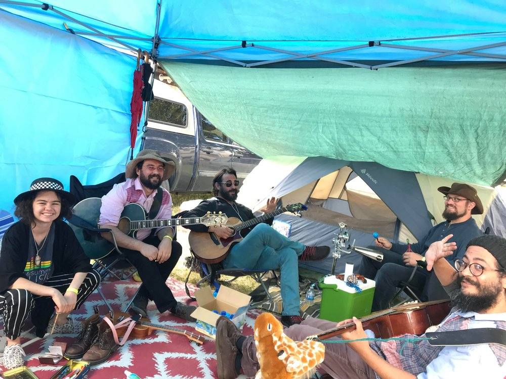 jamming at the campsite before our show