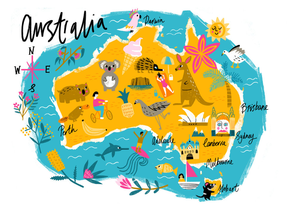 Illustrated map of Australia Sophie Beer Illustration