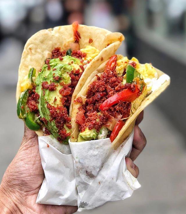Chorizo and egg breakfast tacos anyone? 📸 @nycmouth