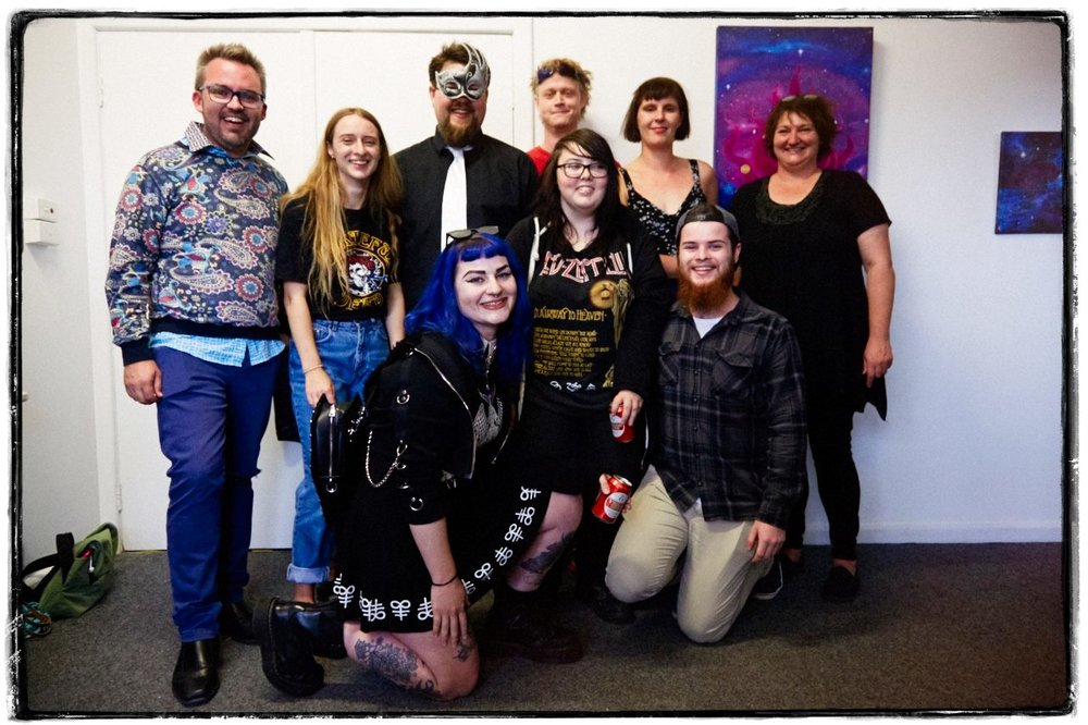 "Photo By: PollyannaR The Big Picture Photographer.  Back: Bryce Ives, Grace Ware, Blue Man, Ian ""Gumby"" Mitchell, Steph Shields, Joh Lyons. Front: Jacqueline Slavin, Teagan Barnstable-Dunn."