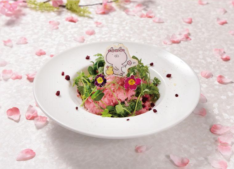 サーモンと菜の花のおはなつみリゾット