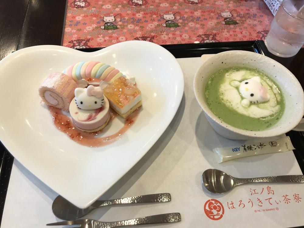 はろうきてぃ 虹のおさんぽケーキプレート  & はろうきてぃ おもてなし抹茶ラテ(ホット)