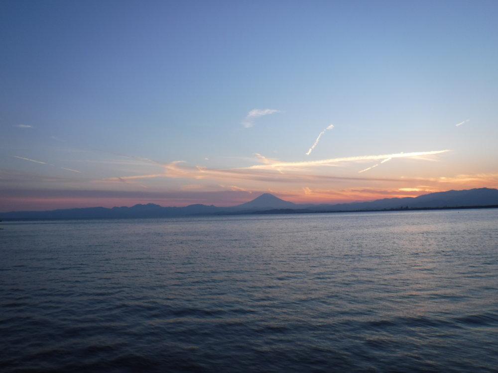 View of Mt. Fuji from Enoshima Bridge