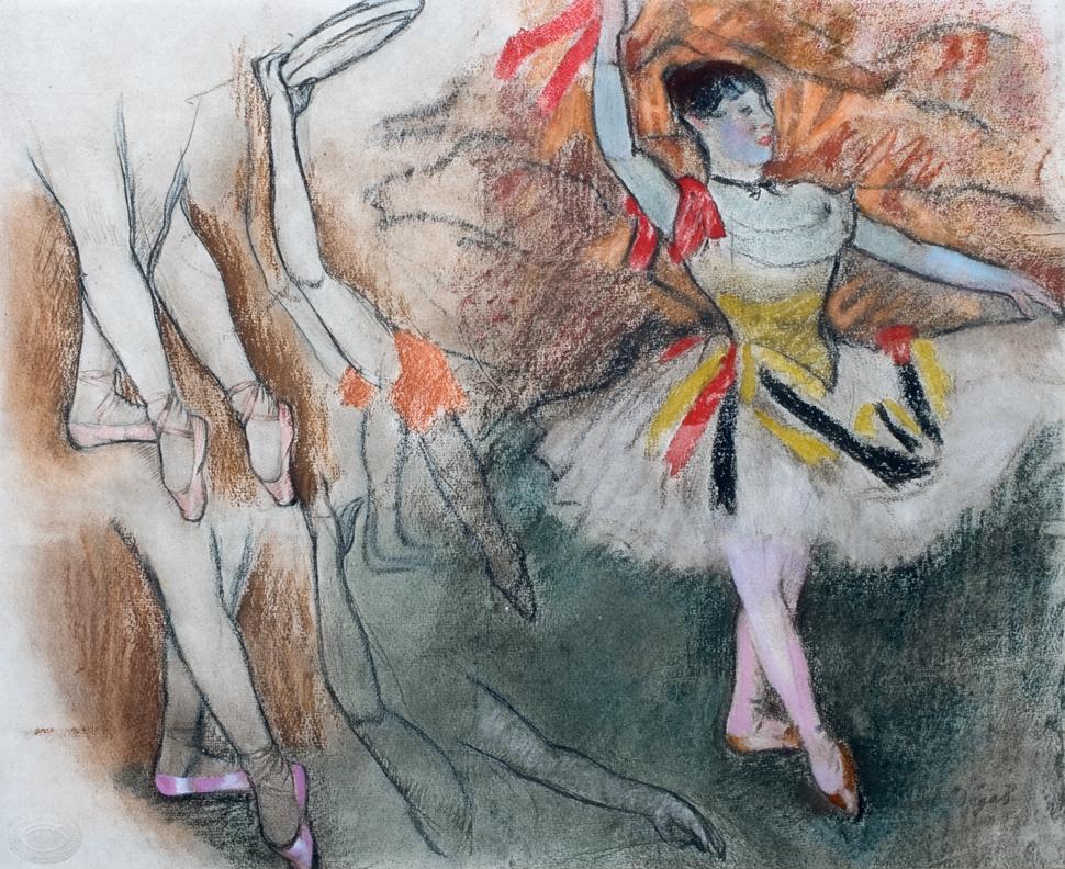 Plate 15: Étude de jambs et de mouvements de bras pour une danseuse avec un tambourin   From Edgar Degas,  Vingt dessins: 1861-1896 . Paris: Goupil, 1897. Ryerson and Burnham Libraries, Art Institute of Chicago.