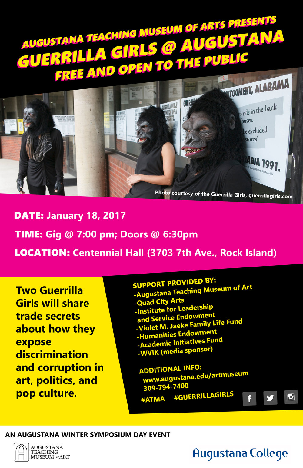 Guerrilla Girls @ Augustana. Designed by Comet Blecha.