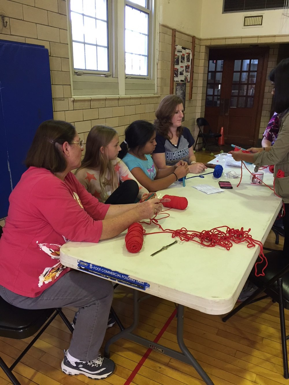 September Crochet-In at Longfellow Liberal Arts Elementary School (photo courtesy of Berni Carmak)