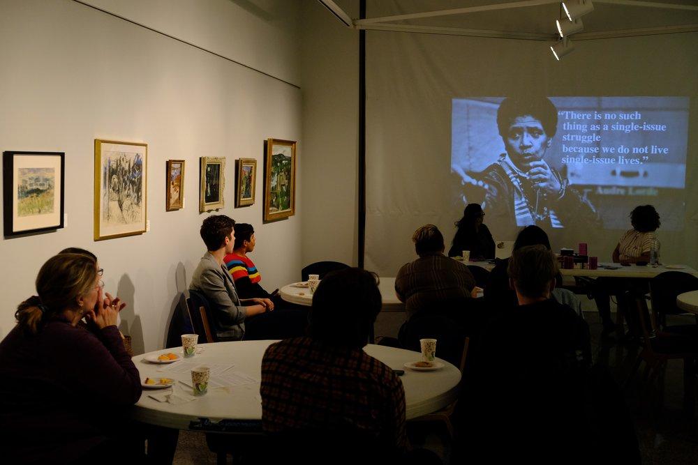 SYA/For the People Artists Collective zine-making workshop (2019). Photo courtesy of the Augustana Photo Bureau, photographer: Mikaylo Kelly.