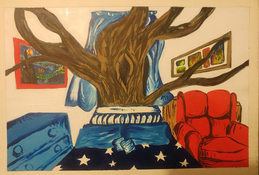 """BEDROOM"" ARTWORK BY CHARITY BIXLER -  ""A kind of fantastical version of my bedroom in high school, done in college."""