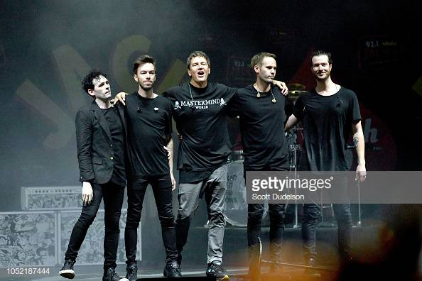 IRVINE, CA - OCTOBER 14:  (L-R) Musicians Kryz Reid, Alex Kopp, Stephan Jenkins, Brad Hargreaves and Alex LeCavalier of the band Third Eye Blind perform onstage during the Jack FM 13th annual concert at FivePoint Amphitheatre on October 14, 2018 in Irvine, California.  (Photo by Scott Dudelson/Getty Images)