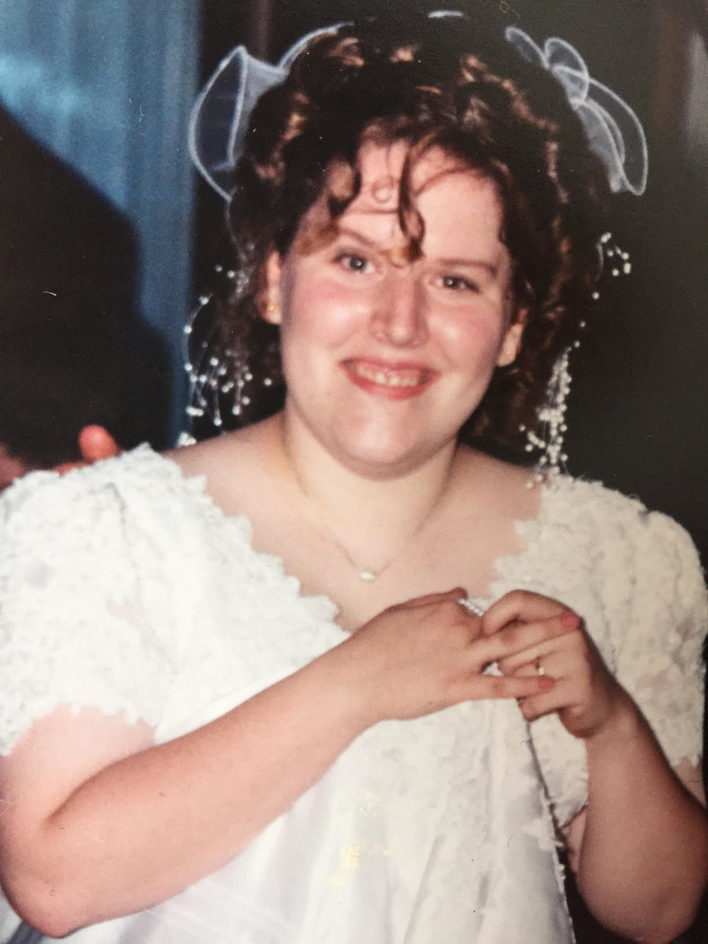 Me in all my mid-90's wedding glory. CHECK OUT THAT HAIR THOUGH.
