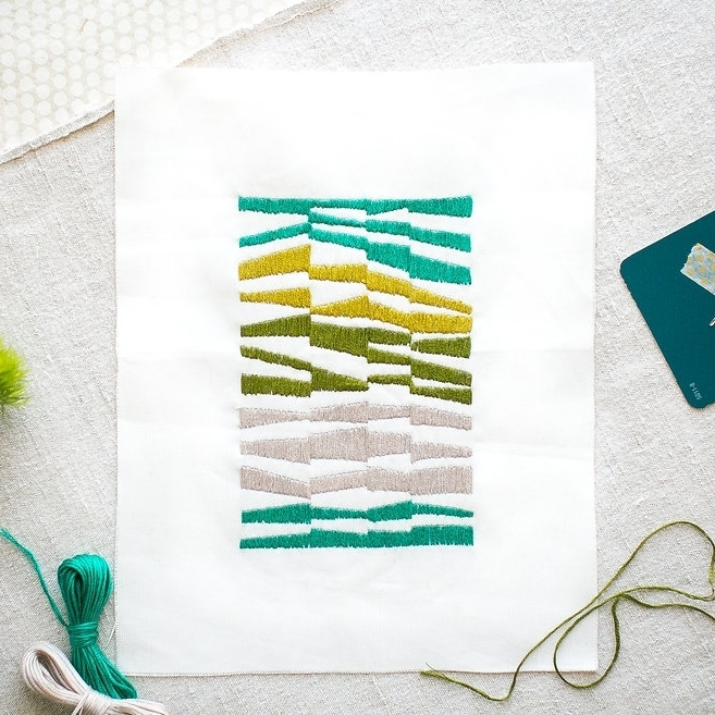 Mid-Century Stripes Teal Embroidery Kit