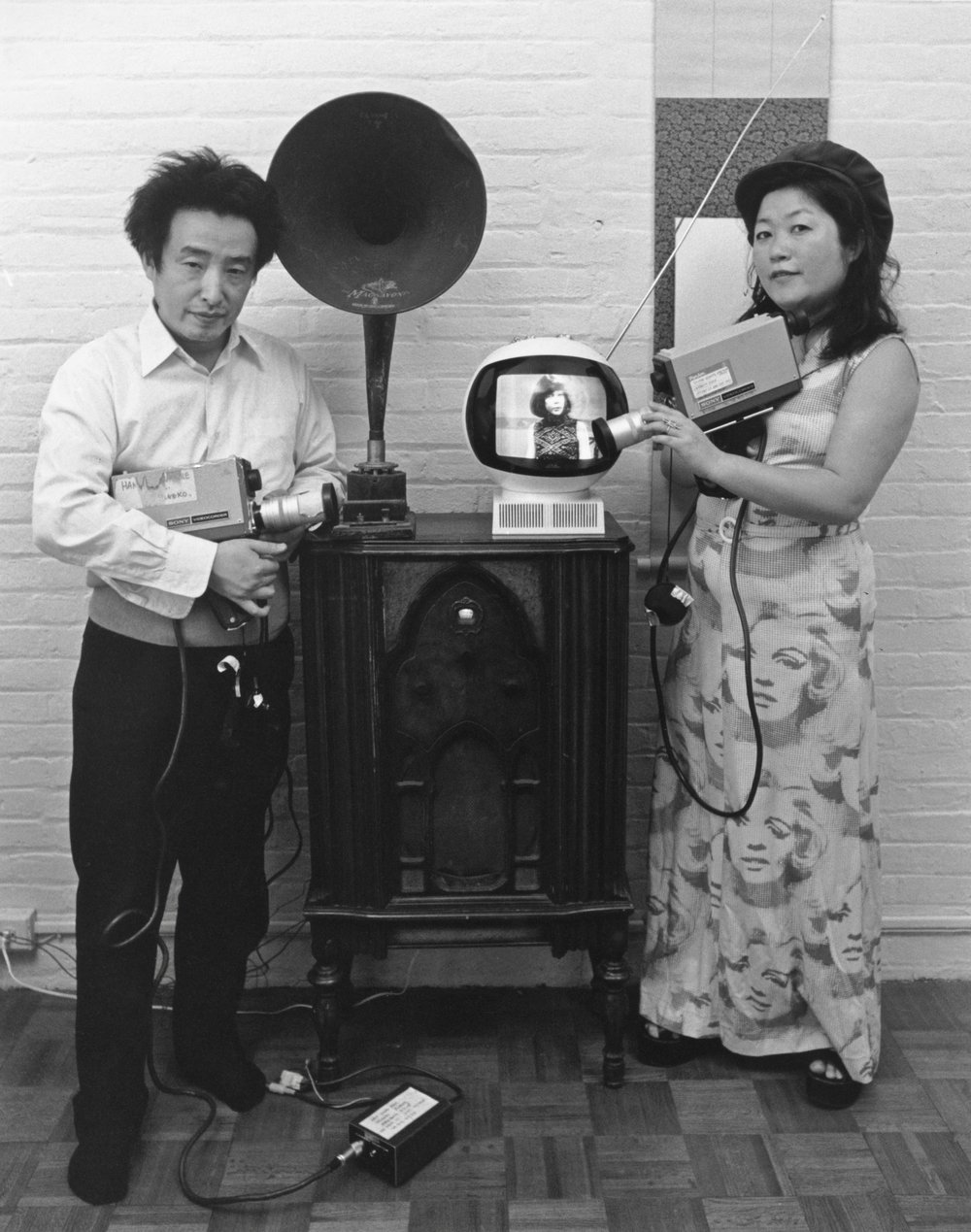 Tom Haar, Shigeko Kubota and Nam June Paik, 1974. ©Tom Haar