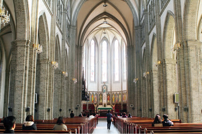 The interior of Myeongdong Cathedral in Seoul