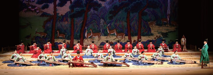 "Performance of  Yeomillak  (""Joy of the People""), court music composed during the reign of King Sejong in the 15th century."