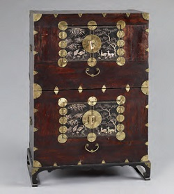 Two-tier Chest.  This exquisite wooden chest used for storing clothes is lavishly decorated with a motherof-pearl inlay design. (The National Folk Museum of Korea)