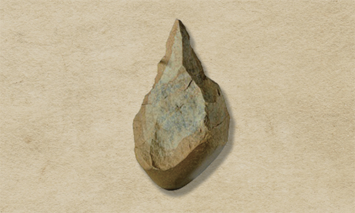 Hand Axe. This multifunctional tool dates back to the Paleolithic period, it was discovered in Jeongok-ri, Yeoncheon-gun, Gyeonggi-do.