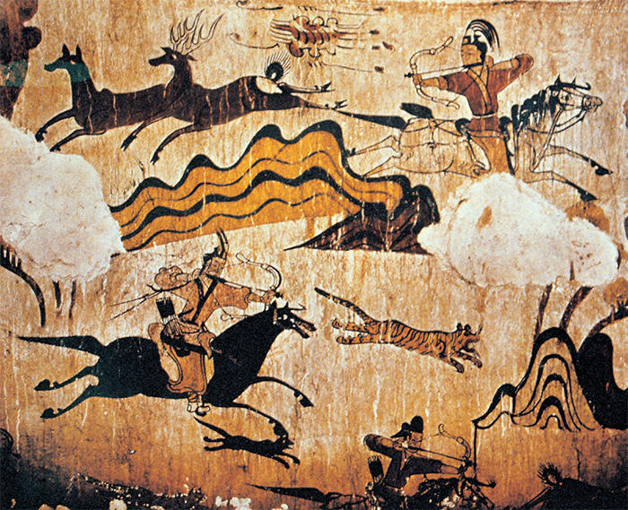A Painting of Hunting Scenes in the Tomb of the Dancers (Goguryeo; 5th Century)  Dynamic hunting activities of the people of Goguryeo (37 BCE-668 CE)