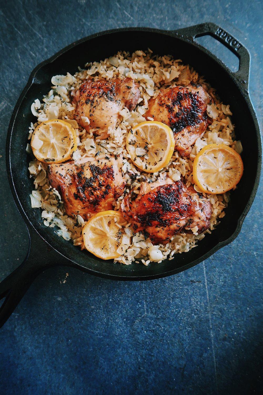one pot greek chicken and lemon rice by kalejunkie