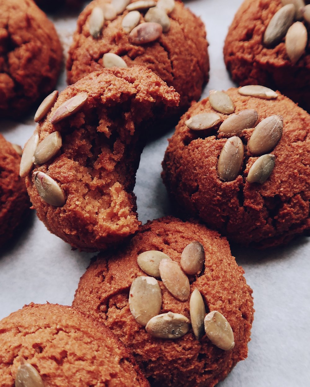 SWEET POTATO PILLOW COOKIES - INGREDIENTS1 1/2 cups mashed sweet potato (this is approx 2 small sweet potatoes)1/2 cup coconut flour 1/4 cup maple syrup1/4 cup melted coconut oil 1/4 cup Bonafide Provisions bone broth3 eggs1/4 tsp salt2 tsp cinnamon1/4 tsp nutmeg1 tsp baking sodapumpkin seeds to sprinkle on top