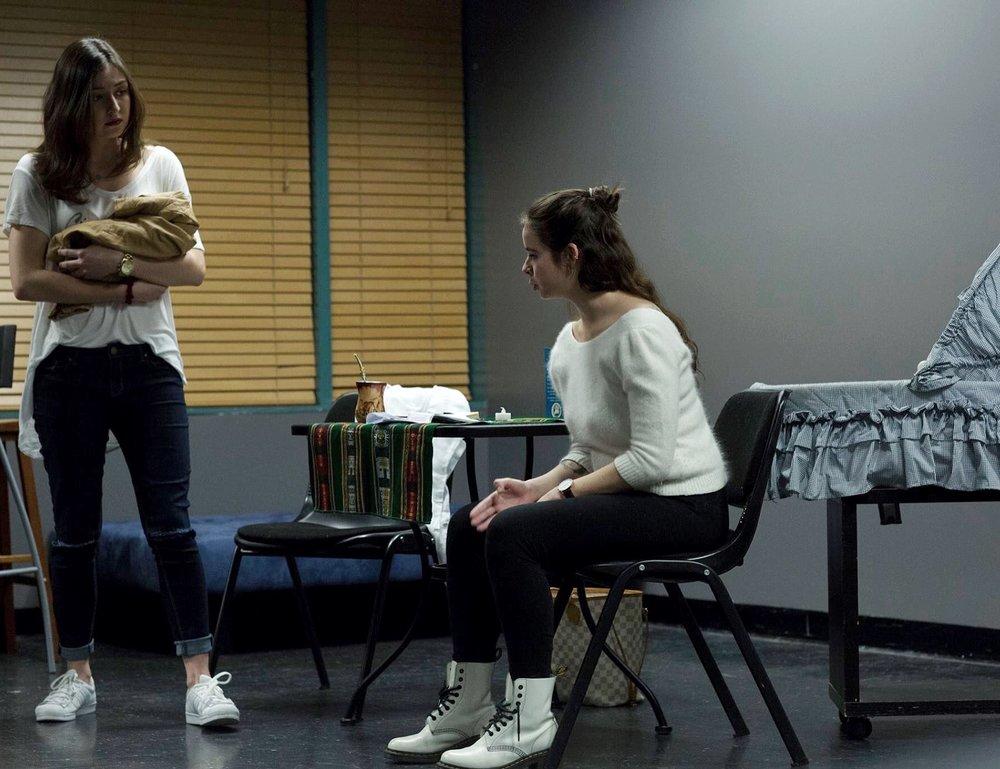 "Rehearsing with Chiara Ferraro for ""After May, June"". A play written by Isidora Alvarado."