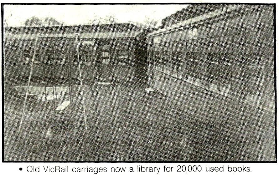 Train carriages at Moorooduc Antiques & Old Wares in 1990.