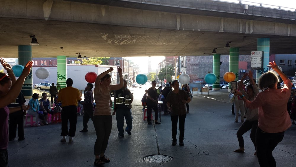 National Night Out Dance Party - activation event under I-5 in Seattle. Photo: Kelle Rose