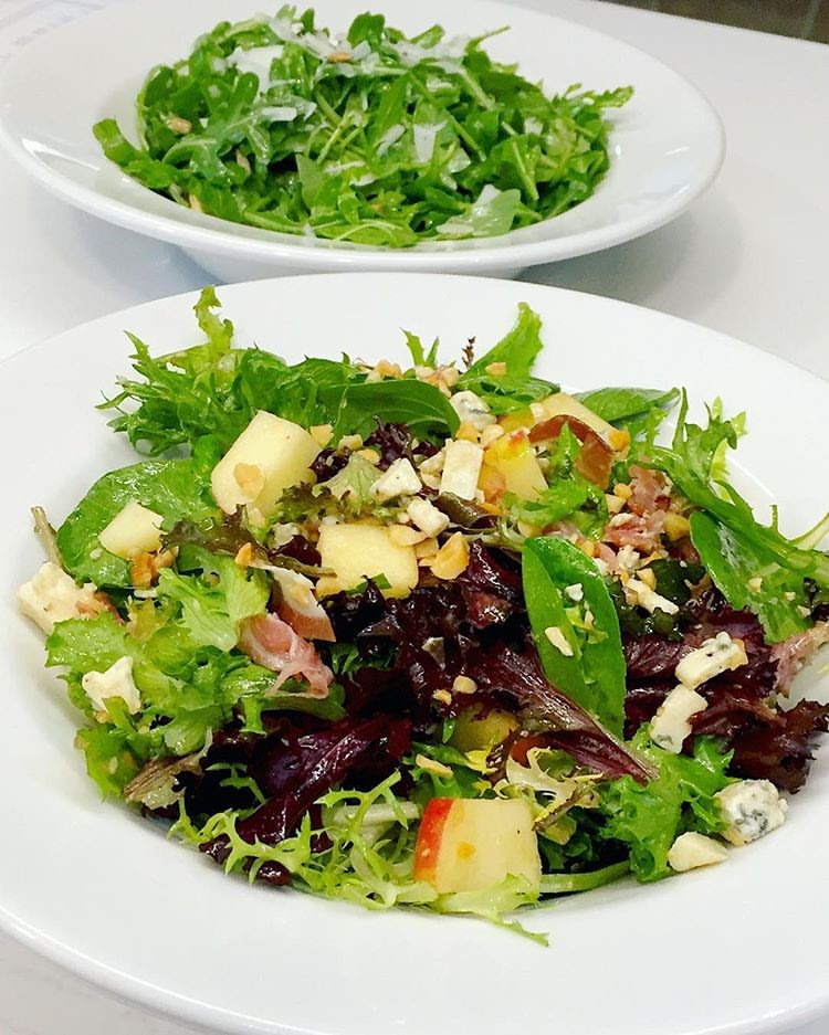 Our turkey salad and mixed green salad.
