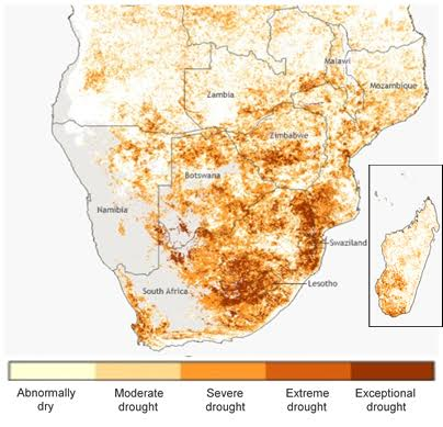 A UN-produced map highlighting the severity of the drought in southern Africa. (Source: UNOHCA)