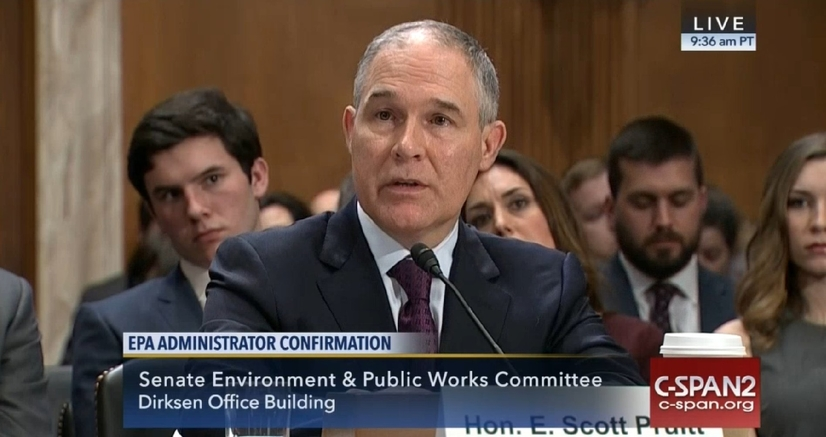 Trump's pick for head of the EPA, Scott Pruitt) appearing before the Senate Environment and Public Works Committee.  (Source: C-SPAN2)