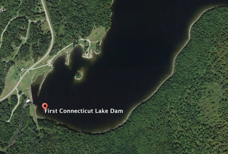 Connecticut's First Connecticut Lake Dam and Reservoir.  (Source: Google Earth)