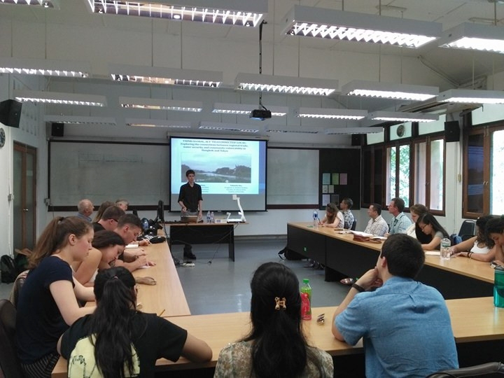 "Dr Carl Middleton provides a lecture titled ""Think Global, Act 'Teleconnected' Local""  (Credit: Saittawut Yutthaworakool)"