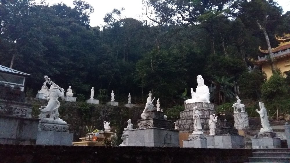 Photo: The Mahayana Buddhist temple which is located on the top of the mountain among nature.