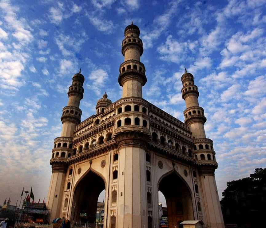 A photo of the Charminar located in the center of Hyderabad, India.