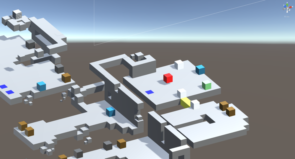 We built the level in modular 3D cubes which are color-coded and map to actual objects in the game. Since visibly tiled floor was always a part of the Design of the game, we decided to take advantage of modularity in our pipeline