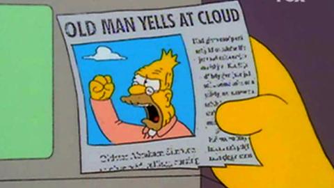 Grandpa shakes at cloud
