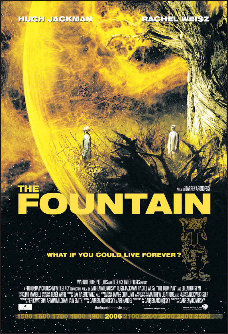 The Fountain (2006) - If you've seen Requiem for a Dream or Black Swan, make The Fountain another addition to the list of Aronofsky films you can pretend to understand. Tom and Issi cross time and space trying to find a cure for Izzi's cancer while Tom struggles with his morality. Trying to keep their marriage together while questioning existence ain't no picnic.