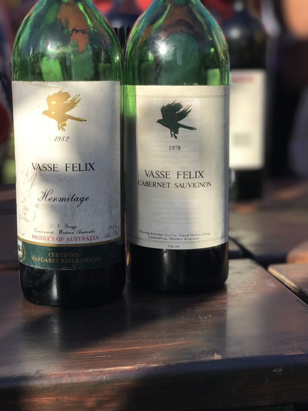Two of the many premium wines on offer on Friday.  It is perhaps unnecessary to note that both of these wines were in superb form, and illustrated with grace what aged Margaret River Cabernet Sauvignon can offer.  Note the interesting watermark running vertically down the bottle on the right - this was the first time Margaret River had been displayed on the label of a Vasse Felix wine.